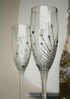 Wedding Glasses Champagne Glasses Toasting by NevenaArtGlass