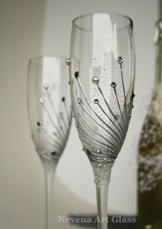 Boda vasos copas de Champagne gafas tostado por NevenaArtGlass