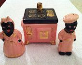 Vintage Black African Americana Salt and Pepper shakers with stove (sugar bowl)1940-1950's