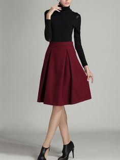Shop Burgundy High Waist Midi Woolen Skirt online. SheIn offers Burgundy High…