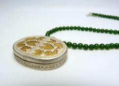 Jade - Jadekette mit afghanischem Silberanhänger - ein Designerstück von krisztina-design bei DaWanda