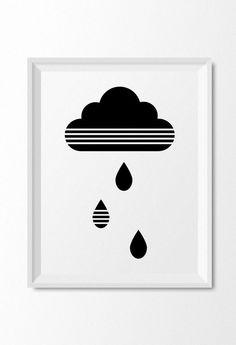 Modern black and white cloud art for kids room or nursery decor, Monochrome nursery wall art print by Limitation Free on Etsy