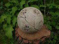 keramik kugel ton rot gewischt braunstein manganspinell muster, Garten und Bauen