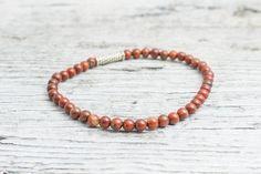 Red agate beaded stretchy #bracelet, mens bracelet, womens bracelet