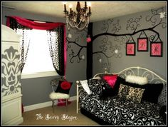 pink, black, grey bedroom