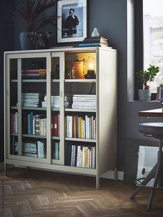IDÅSEN beige, Cabinet with sliding glass doors, cm - IKEA Home Office Space, Home Office Design, Home Office Furniture, Home Interior Design, House Design, Trofast Ikea, Ikea Family, Sliding Glass Door, Glass Doors