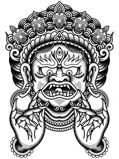 barong traditional ritual balinese mask vector outline illustration for coloring book isolated. Black Bedroom Furniture Sets. Home Design Ideas