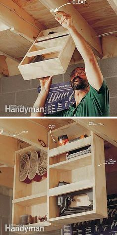Small Workshop Storage Solutions: Eke out every cubic inch of storage in a basement shop with pivoting boxes that hang between the ceiling joists. http://www.familyhandyman.com/workshop/storage/small-workshop-storage-solutions/view-all