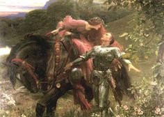 """The knight has a vision of """"pale kings and princes,"""" who cry, """"La Belle Dame sans Merci [the beautiful, pitiless damsel] hath thee in thrall!"""" Description from wn.com. I searched for this on bing.com/images"""