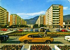 At the housing projects, Romania Fiat 850, Concrete Architecture, Ford Capri, Bucharest, Eastern Europe, Romania, Landscape Design, Mercedes Benz, Classic Cars