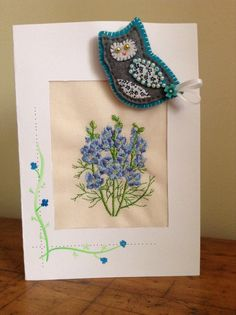 Embroidered and hand painted card with owl brooch attached. By Crafts at Fox Cottage