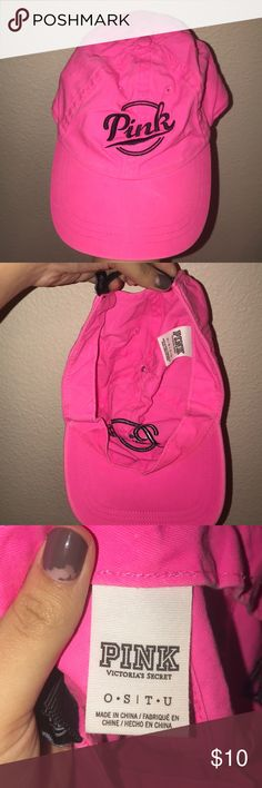 Pink Victoria's Secret baseball cap This is a very cute Victoria's Secret Pink brand hot pink baseball cap. I got it maybe 6-7 months ago. I've only worn it a few times, and although it's very beautiful I feel like hats aren't really my forte which is why I am selling. It came with a little cardboard piece in the front to give it shape which I don't have anymore since I tossed it out but i'm sure you can use one from another hat or maybe buy a couple of those shapers online. Thank you for…