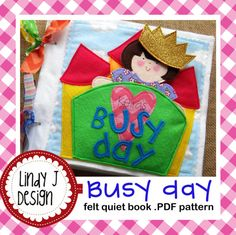 Adorable!!! Busy Day Quiet Book/ felt Paper Doll .PDF PATTERN