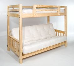 queen futon bunk bed    plete w  two futon mattresses   eco friendly   solid wood   usa woodcrest heartland futon bunk bed with extra loft   honey pine      rh   pinterest