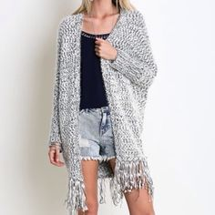 Long Cardigan Slouchy  Fringe Cardigan Nwt fabulous dolman sleeve charcoal combo fringe cardigan which is great for layering . Super soft nwt please comment for personal listing Vivacouture Sweaters