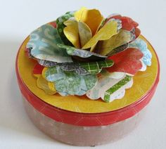 Recycled button container with Washi Tape
