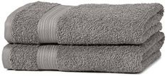From 8.49 Amazonbasics Fade Resistant Towel Set 2 Hand - Grey 500gsm