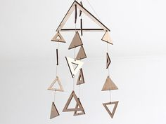 Wooden Triangle Mobile  Abstract Modern Art Decor Natural Mobile Kids, Mobiles For Kids, Nature Decor, Girl Nursery, Art Decor, Modern Art, Triangle, Abstract, Natural