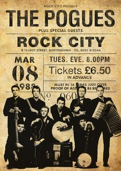 The Pogues 1988 Music Signs, Rock Band Posters, The Pogues, Jazz Poster, Vintage Concert Posters, Concert Flyer, Pop Rock, Music Album Covers, Music Promotion