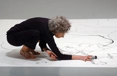 Trisha Brown - Dancer/Choreographer/Visual and Performance artist. Creating a performative drawing. visit her website www.trishabrowncompany.org for more information