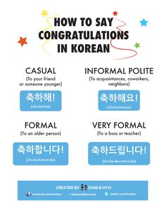 Korean Language 434386326557476145 - How to Say Congratulations in Korean Source by Learn Basic Korean, How To Speak Korean, Korean Words Learning, Korean Language Learning, Congratulations In Korean, Learning Languages Tips, Foreign Languages, Korean Phrases, Korean Verbs