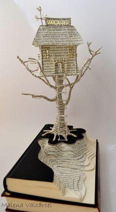 Book Paper Art Sculpture Tree of Life Custom order - Sculpture - Print the sulpture yourself - Haunted Hotel Book Art Book Sculpture Altered Book