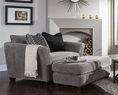 """Oversized chair for master bedroom. Brighton Oversized Chair in """"Graphite"""", """"Foam"""", or """"Cobblestone"""" Fabric by Jackson Furniture - Living Room Chairs, Home Living Room, Living Room Furniture, Living Room Decor, Overstuffed Chairs, Chair And A Half, Room Inspiration, Family Room, Interior Design"""