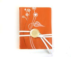 Leather Notebook, Orange Diary, Journal -  Hand Painted Orange Leather Cover, blank white thick paper