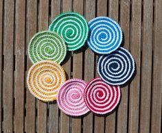 Spiral Coaster/Potholder, free pattern by Barbara Smith.  Pic Ravelry Project Gallery.  . . . .   ღTrish W ~ http://www.pinterest.com/trishw/  . . . .   #crochet #coaster #potholder