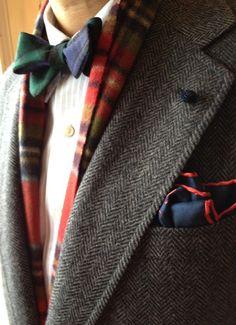 blackwatch wool bow/ tartan scarf/ tweed sport coat/ silk knot boutonniere/ pocket phooph