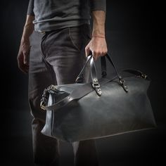 35c20257916 Large Leather Overnight Weekender Duffel Bag for Men & Women - Black