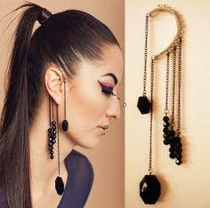 Black Gemstone Beads Ear Cuffs,cool statement jewelry to add into your night party looks! Cuff Earrings, Crystal Earrings, Clip On Earrings, Women's Earrings, Hanging Earrings, Earings Gold, Feather Earrings, Fashion Earrings, Fashion Jewelry