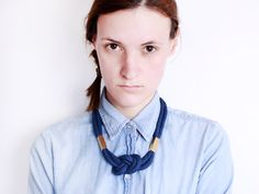Blue & Gold  Knotted cotton rope necklace in navy von ChezKristel, $37.00