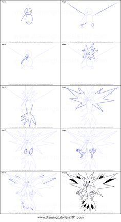 How to Draw Zapdos from Pokemon printable step by step drawing sheet : DrawingTutorials101.com