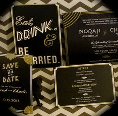 Items similar to Gatsby Art Deco Wedding Invitation // DOWN PAYMENTS toward Printed Sets // Art Deco, Great Gatsby, Roaring Twenties, Vintage Wedding on Etsy Art Deco Wedding Invitations, Wedding Stationary, Wedding Themes, Wedding Designs, Wedding Ideas, Great Gatsby Wedding, Our Wedding, Dream Wedding, Gatsby Theme