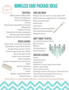 """Homeless Care Packages plus Printable checklist and dos/don'ts. Grab some extra items while you're shopping to make these """"blessing bags"""" for handing to those in need - Odds & Evans homeless care package Homeless Bags, Homeless Care Package, Homeless People, Blessing Bags, Good Deeds, Care Packages, Helping The Homeless, The Fresh, In This World"""
