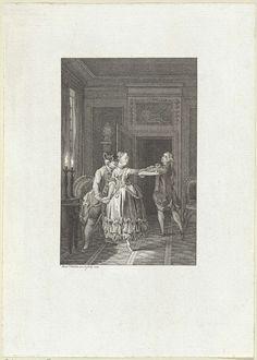 Reinier Vinkeles | Twee mannen en een vrouw in een door kaarslicht verlicht vertrek, Reinier Vinkeles, 1775 |