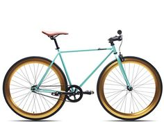A teal and gold bike?! I'm in love.