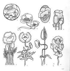 "Photo from album ""Орнаменты модерн"" on Yandex. Fleurs Art Nouveau, Motifs Art Nouveau, Design Art Nouveau, Motif Art Deco, Art Nouveau Flowers, Art Nouveau Pattern, Art Nouveau Tattoo, Botanical Drawings, Botanical Art"