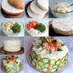 When we talk about cake, we usually think of a baked dessert that is full of the sweet ingredients: sugar, fondant, creams, fruits, chocolates, etc. Have you ever seen the unusualcake that is made of fresh baked bread and filled/decorated with smoked fish, tender seafood, meat, fresh vegetables, cheese, eggs …