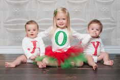 "Christmas Appliqued Shirts for twins - ""JOY"" 3 Shirts Included. $50.00, via Etsy."