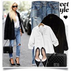 Boyfriend jeans, white shirt, black jacket & black heels....fab