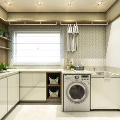 Muitos armários para poder organizar esta linda lavanderia Autora: Carol Cantelli