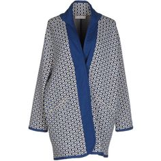 Stefanel Full-length Jacket ($215) ❤ liked on Polyvore featuring outerwear, jackets, deep jade, 3/4 sleeve jacket, blue double breasted jacket, floral print jacket, multi pocket jacket and full length jacket