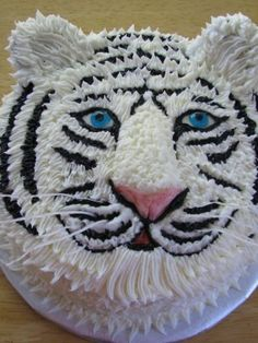 white tiger Cake Johnathan wants Pretty Cakes, Cute Cakes, Tiger Cake, Tiger Cupcakes, Tiger Tiger, Bengal Tiger, Decoration Patisserie, Cake Central, Cake Decorating Techniques