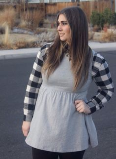 black and white plaid forever 21 outfit with grey jersey dress