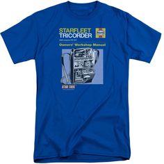 Star Trek/Tricorder Manual Short Sleeve Adult T-Shirt Tall in Royal