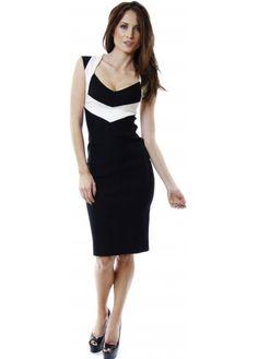Vesper Paris Black & Ivory Two Tone Pencil Dress