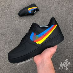 Nike with Swooshes removed and design over swoosh areas - Paint is crack & water resistant - Hand Painted - Class Tracked Shipping Shoes are made to order, please allow up to 20 days to be completed and posted. Nike Shoes Air Force, Nike Air Force Ones, Custom Sneakers, Custom Shoes, Nike Custom, Sneaker Plug, Sneakers Fashion, Sneakers Nike, Ankle Sneakers