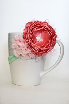 Coral and Pink Blooms by JensBowdaciousBows on Etsy, $13.95